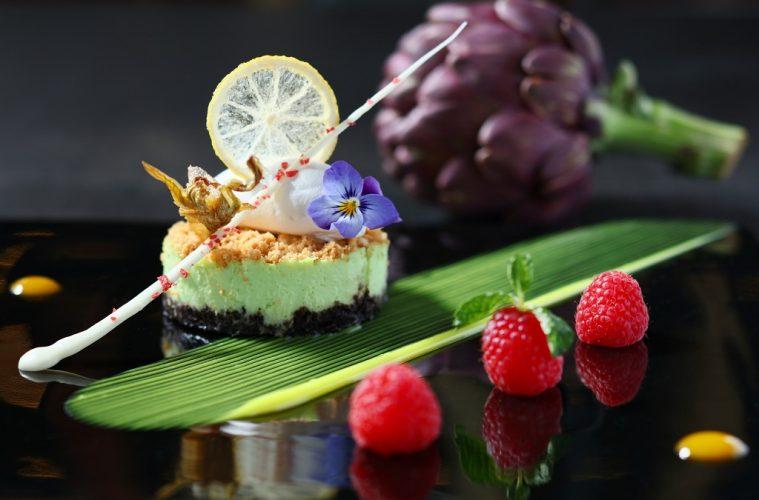 Artichoke Cheese Cake with Chocolate Crunch, Lemon and Mint Sauce 雅枝竹奶酪芝士餅伴香脆朱古力及檸檬薄荷醬 (港幣HK$98)