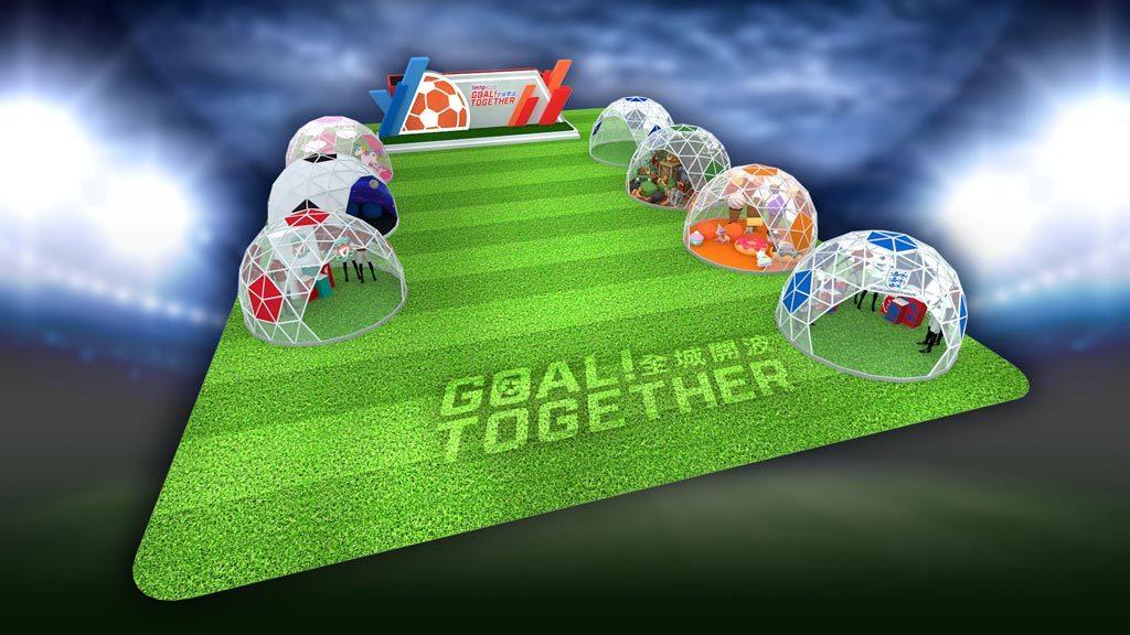 場內特設7個3米高之巨型立體足球帳幕,打造成一個世界級的球迷世界